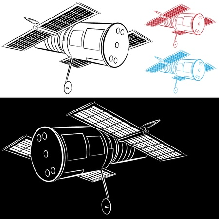 An image of a space satellite drawing set. Ilustrace