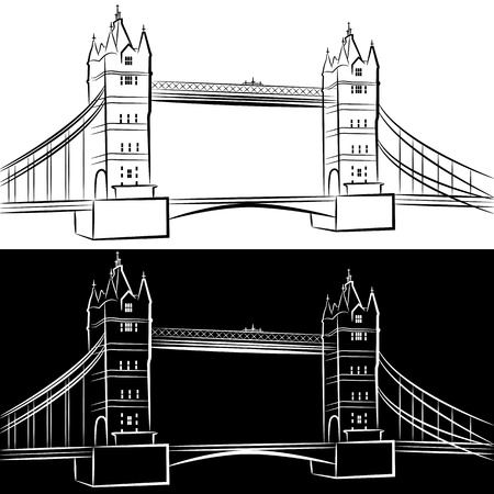 great britain: An image of a london bridge drawing set.