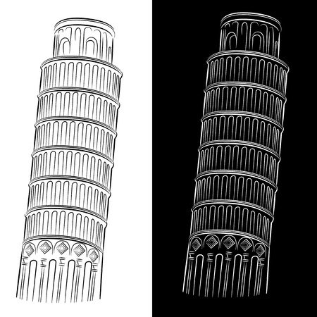 tower of pisa: An image of a leaning tower of pisa drawing set.