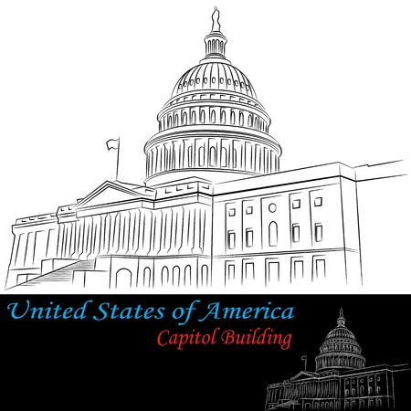 building sketch: An image of United States of America Capitol Building drawing set.