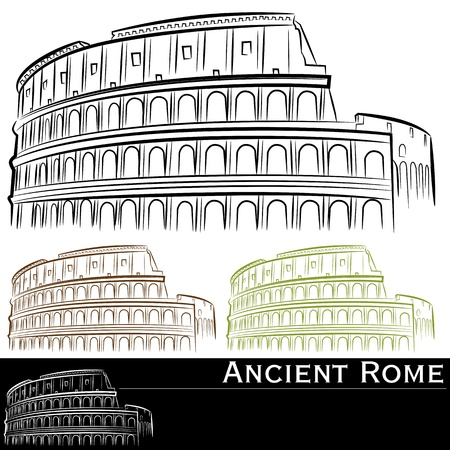 An image of roman colosseum drawing set. Ilustracja