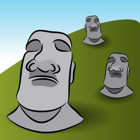 moai: An image of Easter Island Statues.