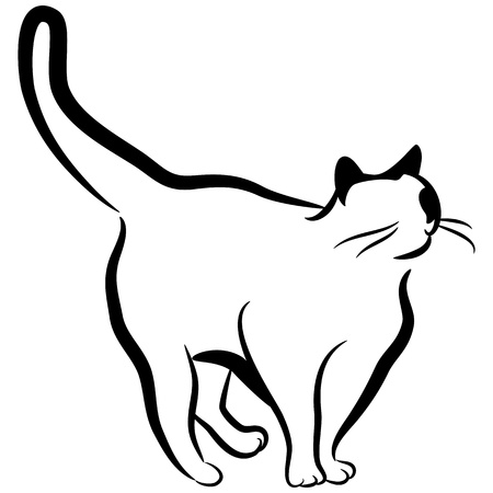 line of art: An image of an abstract elegant cat.