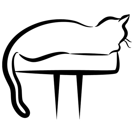 white perch: An image of an abstract elegant cat.