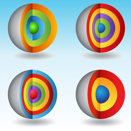 An image of a set of 3d layered core sphere charts. Vector