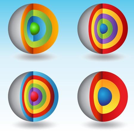 nucleo: Una imagen de un conjunto de gráficos 3d capas centrales esfera. Vectores