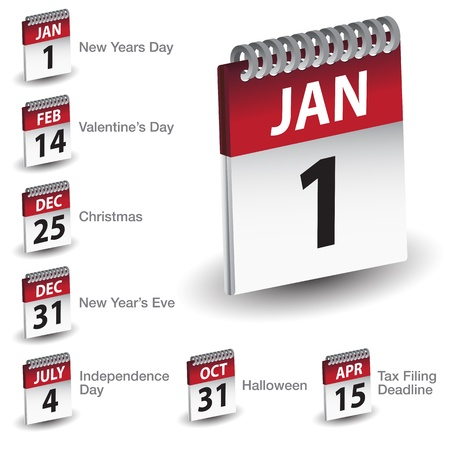An image of a holiday calendar date icon set. Çizim