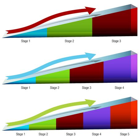An image of a set of 3d ramp charts. Stock Vector - 14770192