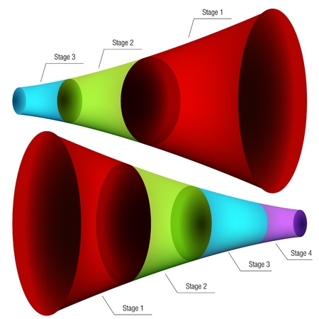 An image of a set of 3d funnel charts. Vector
