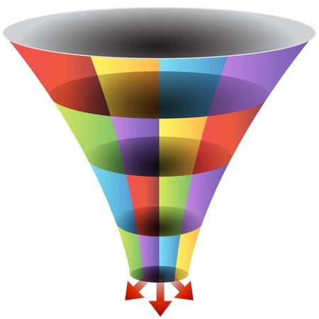 funnel: An image of a mosaic 3d funnel chart.