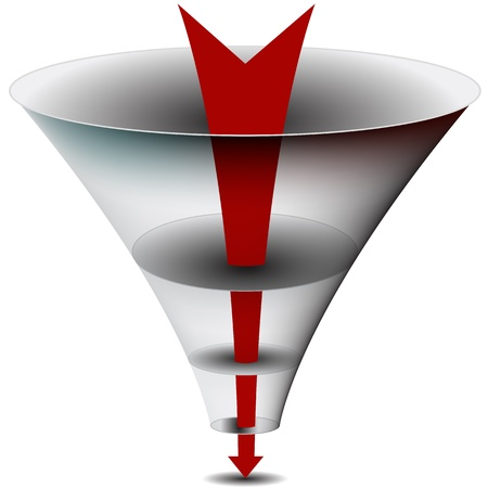 An image of am arrow passing through a funnel chart. Vector