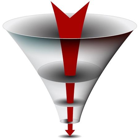 Una imagen de am flecha pasa a través de un gráfico de embudo. Ilustración de vector