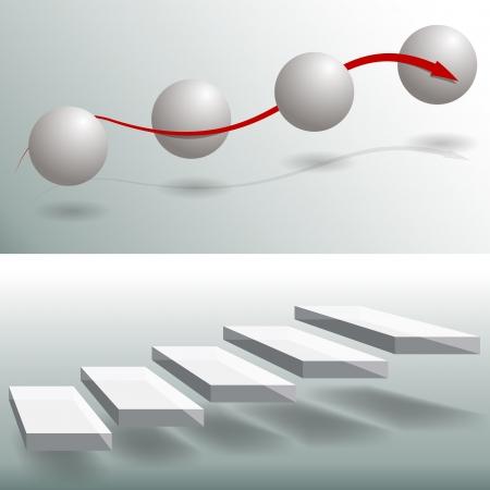 escalera: Una imagen de un conjunto de gr�ficos de negocios esfera y escalera.