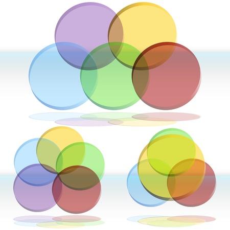 overlapping: An image of a 3d venn diagram set. Illustration