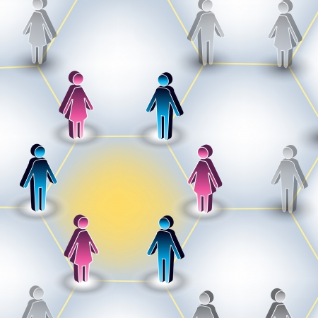An image of a man and a woman connected through a social network.