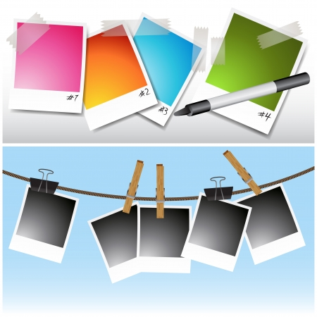 An image of a set of blank photos hanging on clothesline and taped. Vector