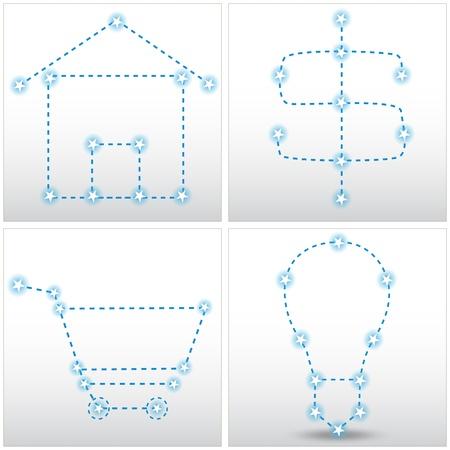 An image of a set of star matrix house, dollar sign, shopping cart and lightbulb chart set. Vector