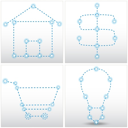 dashed line: An image of a set of star matrix house, dollar sign, shopping cart and lightbulb chart set.