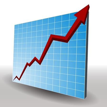 profit graph: An image of a 3d profit line chart. Illustration