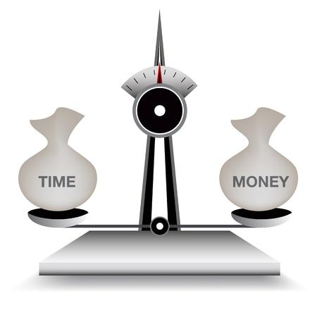 時間とお金のバランスのスケールのイメージ。