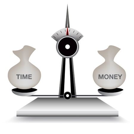 balancing act: An image of a scale balancing time and money.