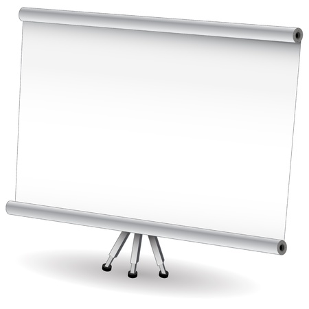 screen: An image of a pull down presentation projector screen.