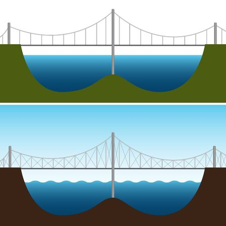 bridge over water: An image of a bridge chart. Illustration