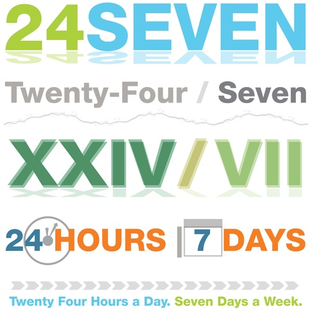 numeros romanos: Una imagen de un conjunto de diseños veinticuatro siete. Vectores