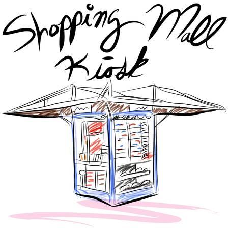 An image of a shopping mall kiosk. Vector