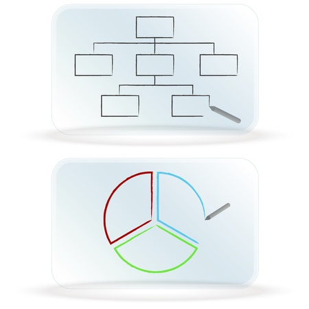 An image of frosted glass dry erase board charts. Ilustracja