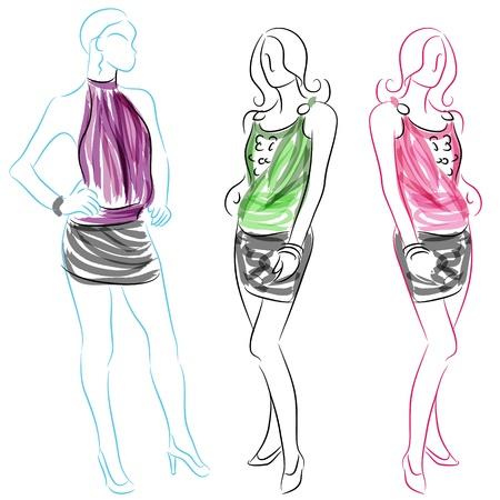 Een beeld van een vrouw het dragen van korte rokjes.