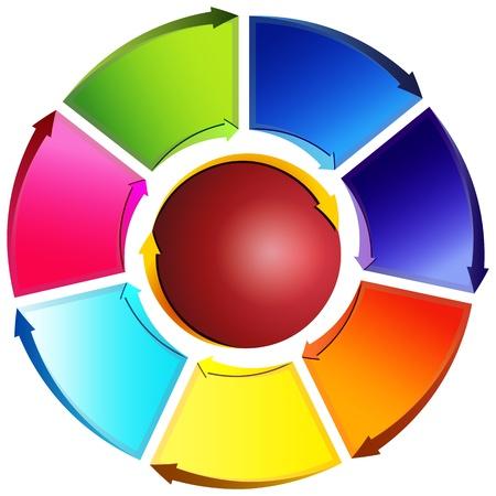 diagrama: Una imagen de un diagrama de flecha rueda direccional. Vectores