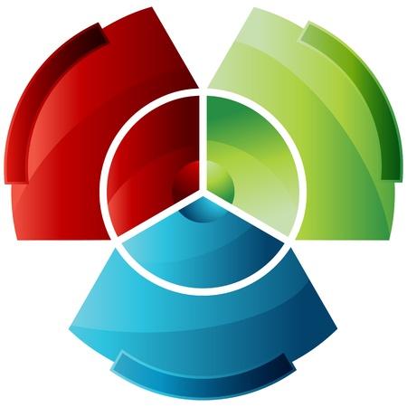 Une image d'un diagramme circulaire divisé abstrait. Vecteurs