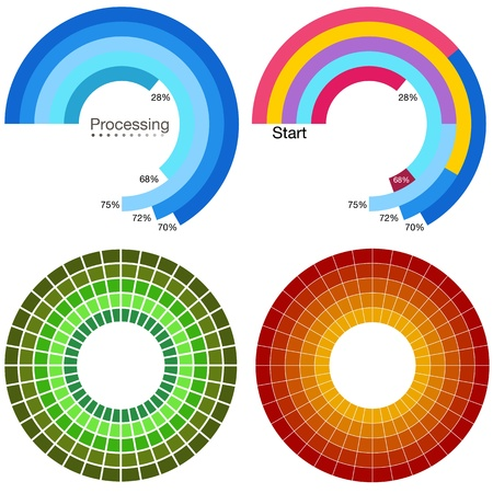 An image of a processing wheel chart set. Ilustrace