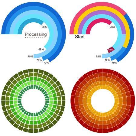 tourtes: Une image d'un ensemble de traitement graphique roue.