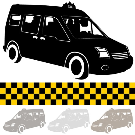 An image of a taxi shuttle van silhouette. Vector