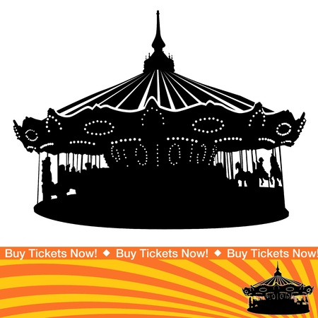 An image of a carousel ride silhouette. Vector