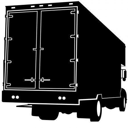 An image of the rear view of a truck silhouette. Иллюстрация