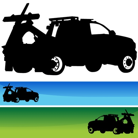 tow truck: An image of a tow truck silhouette banner set.