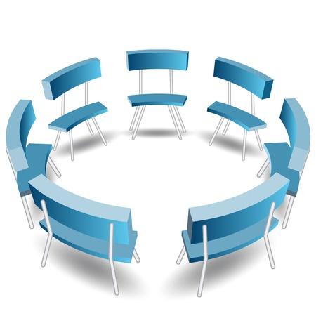 Een beeld van een blauwe stoelen in een cirkel formatie.