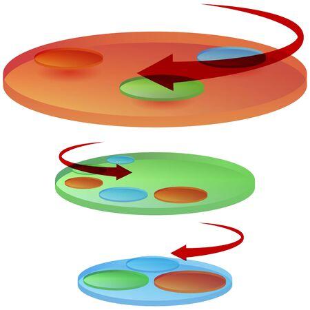 cicla: Una imagen de un gráfico de disco giratorio. Vectores