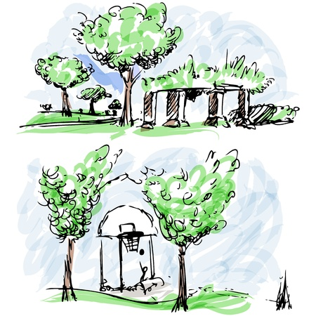 An image of park sketches. Stock Vector - 15488532