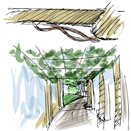 An image of outdoor park gazebo sketches. Ilustrace