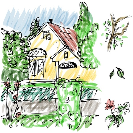 An image of garden house sketch. Vector