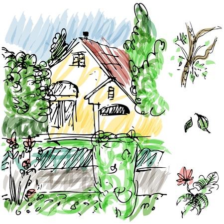 Een afbeelding van tuinhuis schets. Stock Illustratie