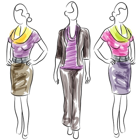 fashion illustration: An image of business clothing fashion women.