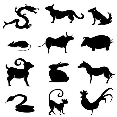 중국어 점성술 동물 실루엣의 이미지입니다. 일러스트