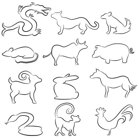 중국 점성술 동물 라인 드로잉의 이미지입니다.