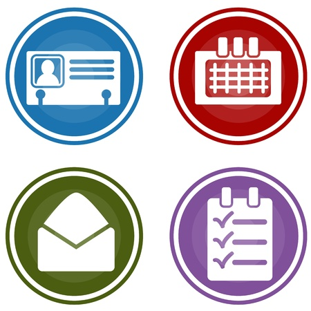todo: An image of a personal business organizer target pattern button set. Illustration