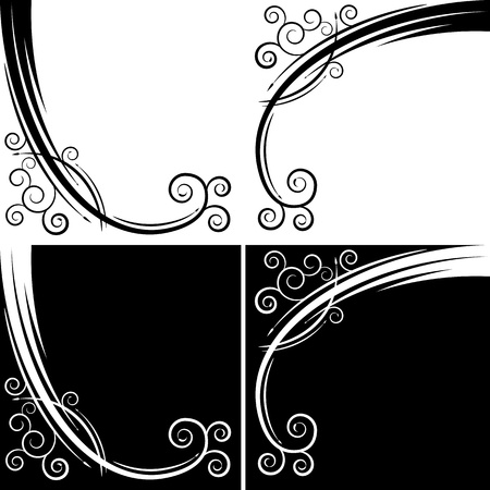 black swirls: An image of an abstract swirl curve set.